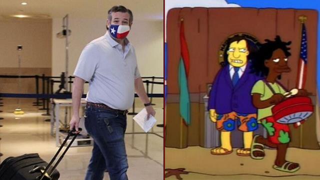 Simpsonlar yine bildi! Teksas senatörünün felaketi yaşayan şehri bırakıp tatile gitmesini 1993'te öngörmüşler