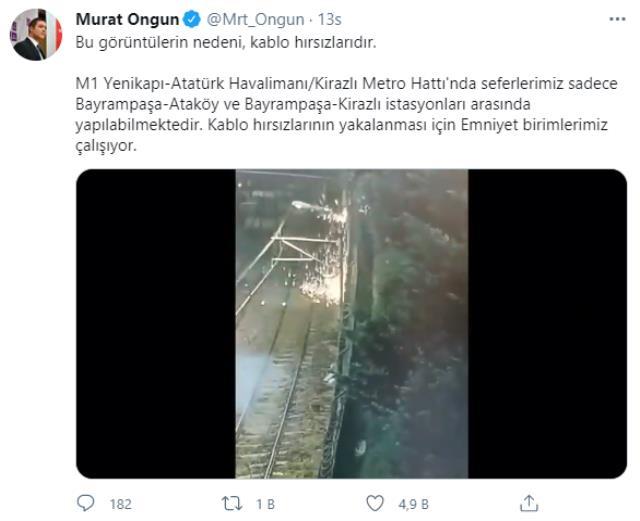 İstanbul'daki metro seferlerini durduran olayın nedeni kablo hırsızları çıktı